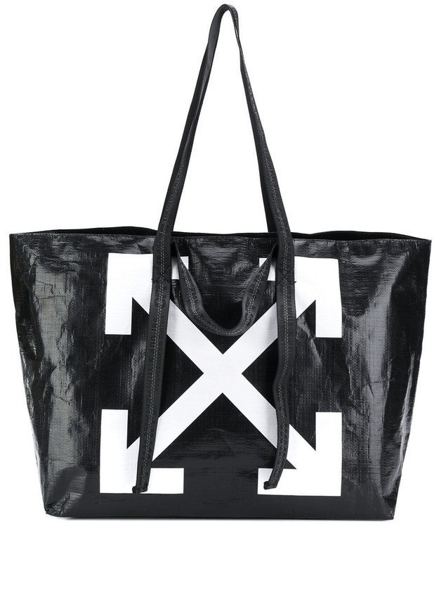 Off White arrow logo shopper tote Black Shopper czarne
