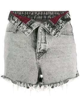 Alexander Wang foldover denim shorts - Grey