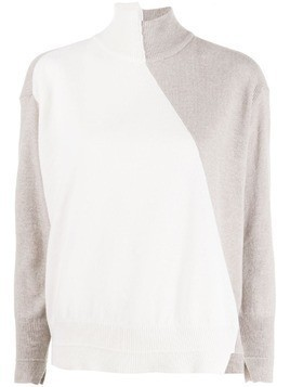 Lorena Antoniazzi turtleneck two tone sweater - White