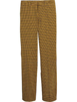 Burberry checked straight-leg trousers - Yellow & Orange