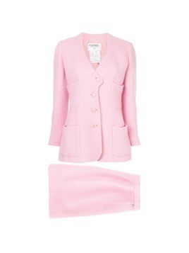 Chanel Vintage patch pockets skirt suit - Pink&Purple