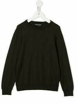 Emporio Armani Kids logo-embroidered knitter jumper - Brown