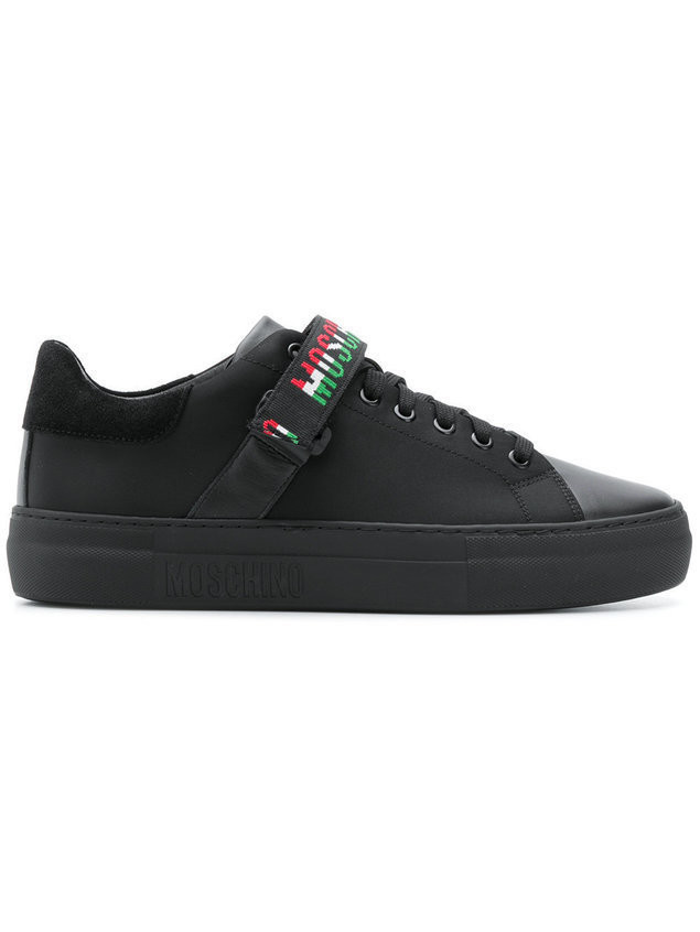 Moschino logo strap low-top sneakers - Black