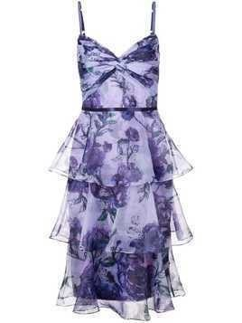 Marchesa Notte tiered floral dress - Purple