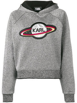 Karl Lagerfeld space Karl cropped hoodie - Grey