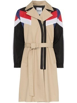 Koché hybrid belted coat - Dark Beige/Red/White/Navy