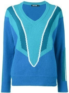 Adaptation patterned v-neck jumper - Blue