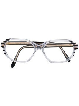 Yves Saint Laurent Pre-Owned striped detail glasses - Black