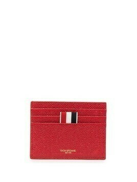 Thom Browne pebbled texture three-stripe cardholder - Red