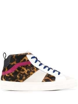 D.A.T.E. panelled leopard-print sneakers - White