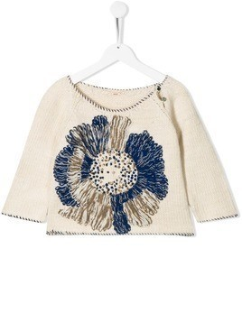 Pero Kids knitted flower jumper - White