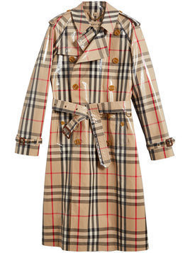 Burberry - laminated check trench coat - Herren - Cotton/Viscose - 44 - Nude & Neutrals