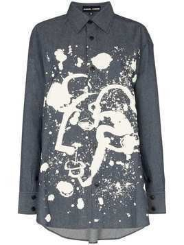 Angel Chen Shepherd paint-splatter denim shirt - Blue