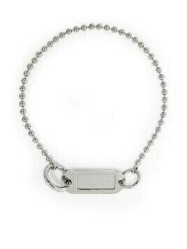 MM6 Maison Margiela logo-engraved plate necklace - SILVER