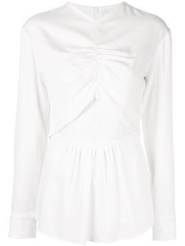 Christopher Esber ruched long sleeve blouse - White