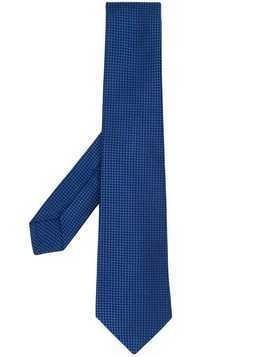 Kiton geometric pattern silk tie - Blue