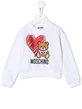 Moschino Kids Teddy Bear print sweatshirt - White