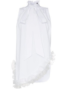 Blindness asymmetric ruffle hem sleeveless shirt - White