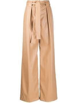 MSGM leather effect palazzo trousers - Brown