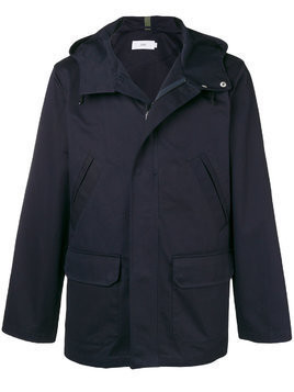 Closed hooded button jacket - Blue