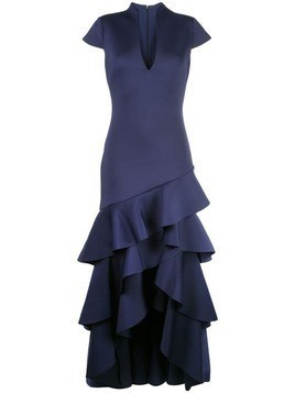 Badgley Mischka ruffled hem gown - Blue