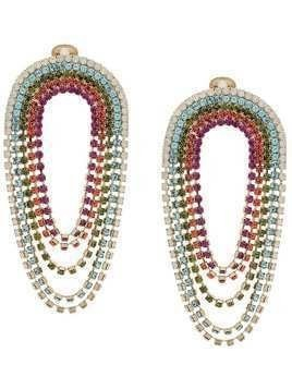 Silvia Gnecchi multi crystal oversized earrings - Red