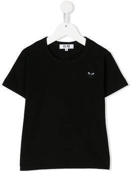 Comme Des Garçons Play Kids chest logo patch T-shirt - Black