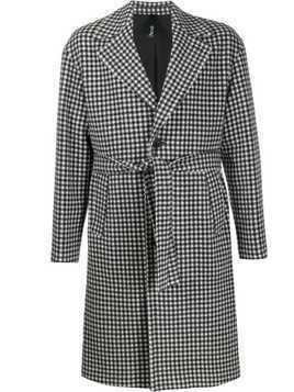 Hevo checked belted single breasted coat - Black
