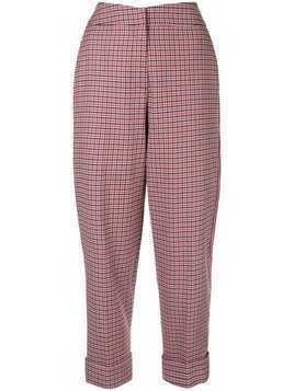Hellessy high-waisted checked trouser - Red
