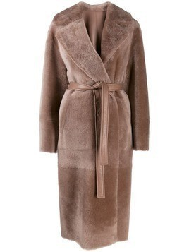 Blancha single-breasted oversized coat - Brown