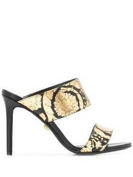 Versace Golden Hibiscus print sandals - Black