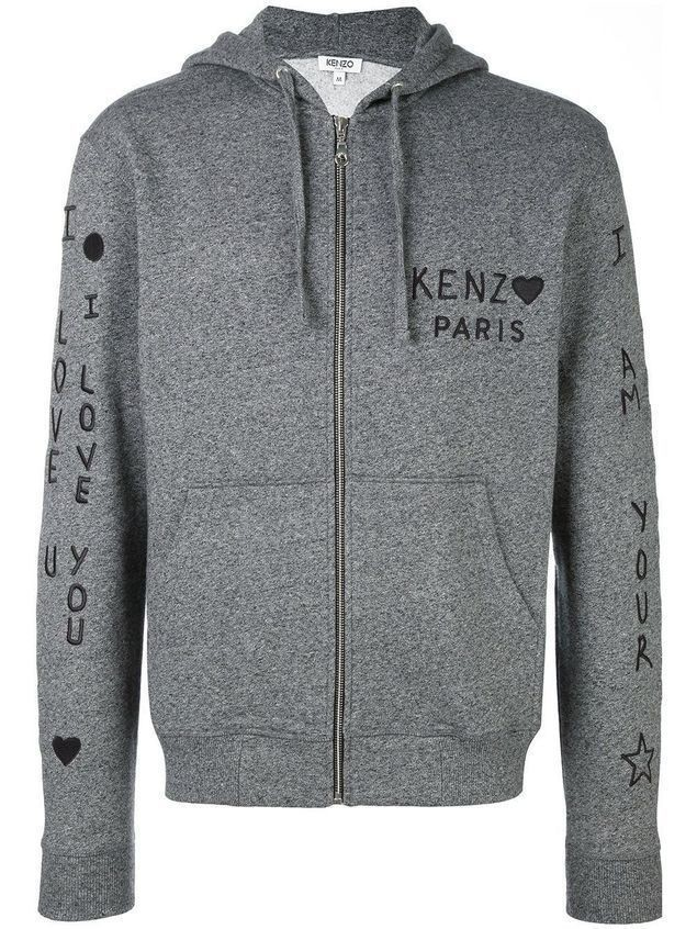 Kenzo 'I Love You' embroidered hoodie - Grey