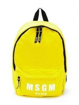 Msgm Kids logo print backpack - Yellow