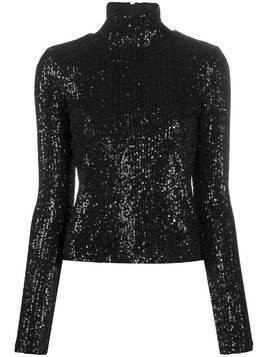 AMI sequinned turtle neck top - Black