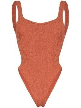 Hunza G Isolde Domino crinkle swimsuit - Brown