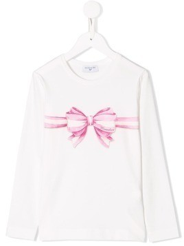 Monnalisa bow print long-sleeved T-shirt - White