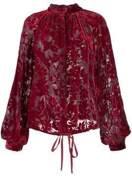 Ann Demeulemeester floral-jacquard long-sleeved shirt - Red