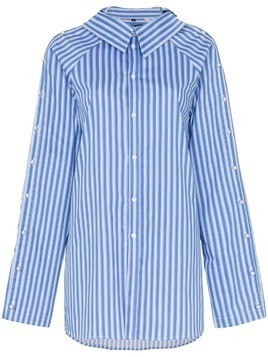Blindness button detail stripe cotton shirt - Blue
