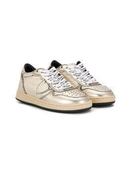 Philippe Model Kids metallic emblem trainers - GOLD