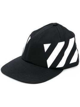 Off-White diagonal stripes printed cap - Black