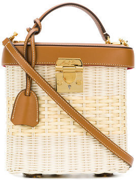Mark Cross straw and leather box bag - Nude & Neutrals