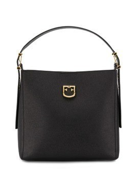 Furla logo plaque tote - Black