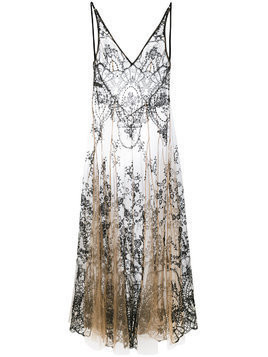 I.D.Sarrieri floral embroidery sheer nightgown - Neutrals