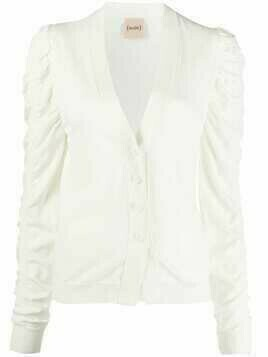 Nude ruched-sleeve knitted cardigan - White