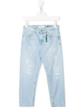 Dondup Kids bleach effect tapered jeans - Blue