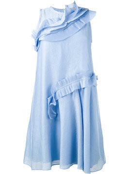 Carven ruffle trimmed dress - Blue