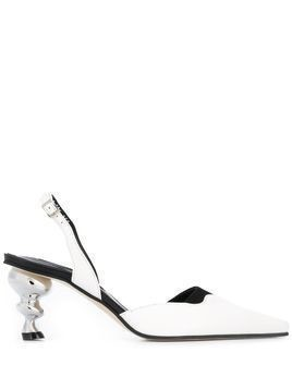 Yuul Yie statement heel slingback pumps - White