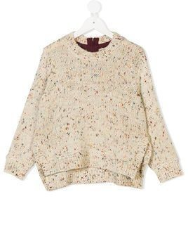 Stella Mccartney Kids speckled chunky knit jumper - White