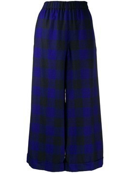 Daniela Gregis checked wide leg trousers - Blue