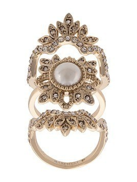 Marchesa Notte crystal embellished finger ring - Metallic